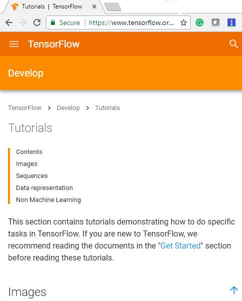 TensorFlow Tutorials hub screenshot